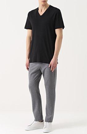 Мужская хлопковая футболка с v-образным вырезом JAMES PERSE черного цвета, арт. MHE3352/MLJ3352   Фото 2