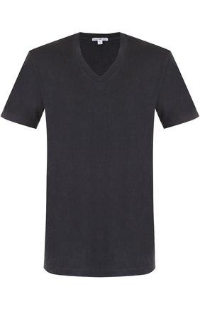 Мужская хлопковая футболка с v-образным вырезом JAMES PERSE темно-серого цвета, арт. MHE3352/MLJ3352 | Фото 1