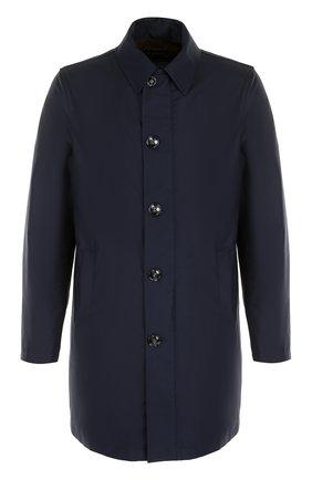 Шерстяное однобортное пальто на молнии с отделкой из натуральной кожи | Фото №1