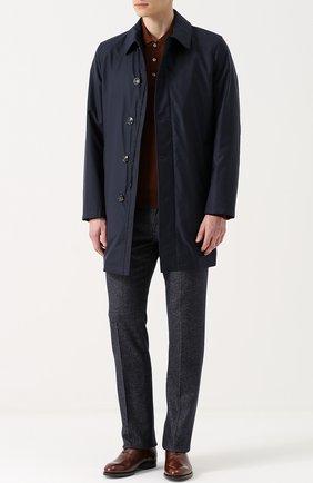 Мужской шерстяное однобортное пальто на молнии с отделкой из натуральной кожи KITON темно-синего цвета, арт. UW0292V03P13 | Фото 2