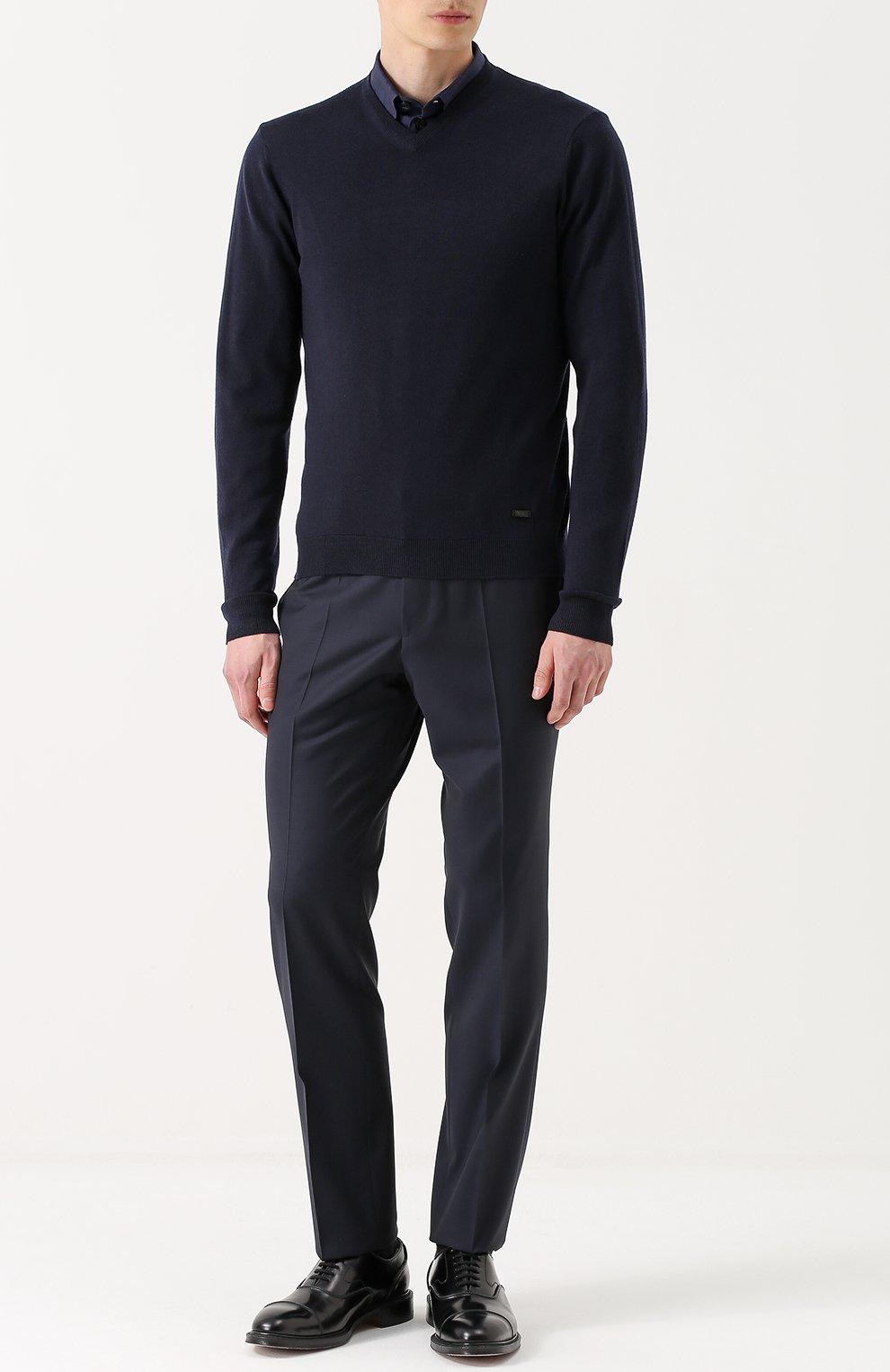 Шерстяной пуловер тонкой вязки | Фото №2