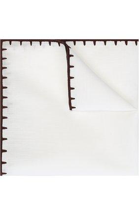 Мужской платок из смеси льна и хлопка ERMENEGILDO ZEGNA белого цвета, арт. Z2I00/37A | Фото 1