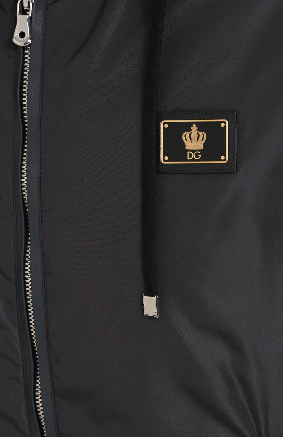 Бомбер на молнии с капюшоном Dolce & Gabbana серая | Фото №5