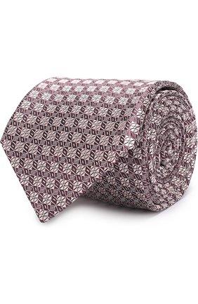 Мужской шелковый галстук с узором BRIONI розового цвета, арт. 061D/0640D | Фото 1