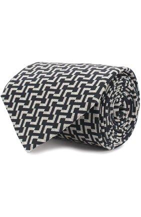 Мужской шелковый галстук с узором GIORGIO ARMANI черно-белого цвета, арт. 360054/7A807 | Фото 1
