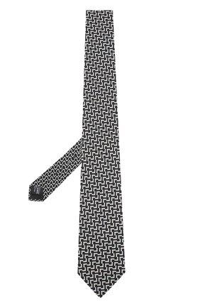 Мужской шелковый галстук с узором GIORGIO ARMANI черно-белого цвета, арт. 360054/7A807 | Фото 2