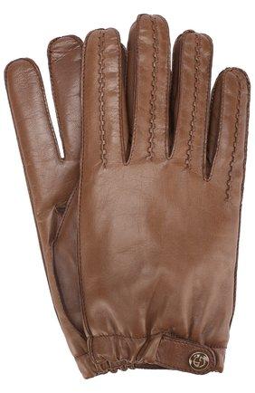 Мужские кожаные перчатки с кашемировой подкладкой GIORGIO ARMANI светло-коричневого цвета, арт. 744135/7A205 | Фото 1