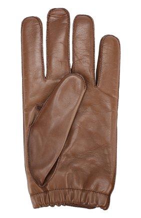Мужские кожаные перчатки с кашемировой подкладкой GIORGIO ARMANI светло-коричневого цвета, арт. 744135/7A205 | Фото 2