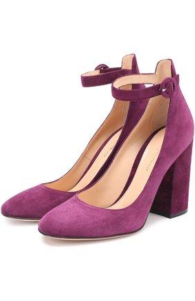 Замшевые туфли Greta на устойчивом каблуке | Фото №1
