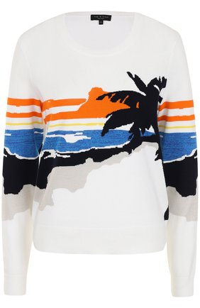 Пуловер прямого кроя с принтом Rag&Bone белый | Фото №1