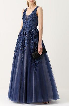 Платье в пол с пышной юбкой и декоративной отделкой Basix Black Label темно-синее | Фото №1