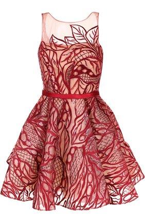 Приталенное мини-платье с вырезом на спинке и фактурной отделкой | Фото №1