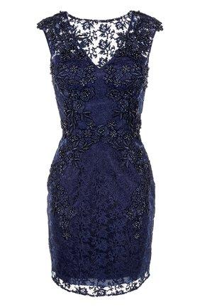Приталенное мини-платье с вышивкой Basix Black Label темно-синее | Фото №1