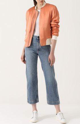 Укороченные джинсы прямого кроя с потертостями Rag&Bone голубые | Фото №1
