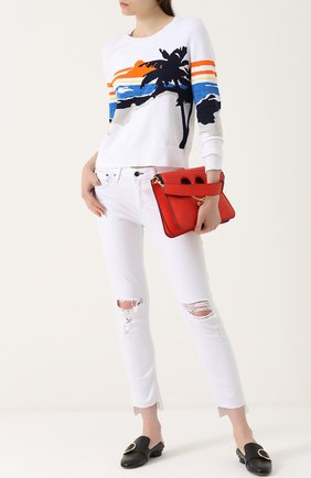 Джинсы прямого кроя с потертостями Rag&Bone белые | Фото №1