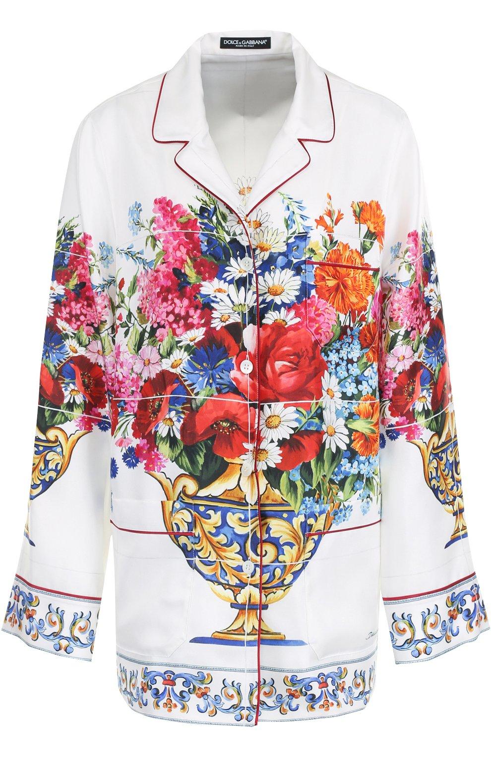 Шелковая блуза в пижамном стиле с принтом | Фото №1