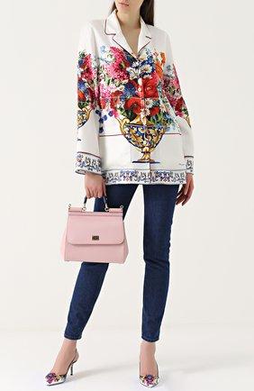 Шелковая блуза в пижамном стиле с принтом Dolce & Gabbana разноцветная | Фото №2
