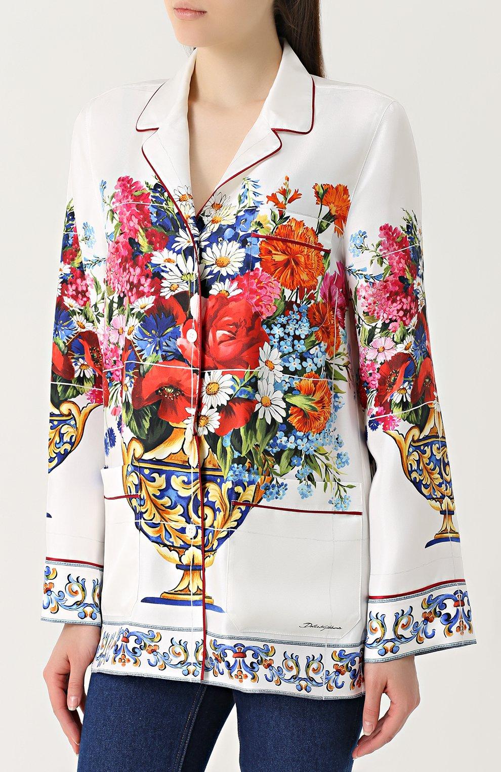 Шелковая блуза в пижамном стиле с принтом Dolce & Gabbana разноцветная | Фото №3
