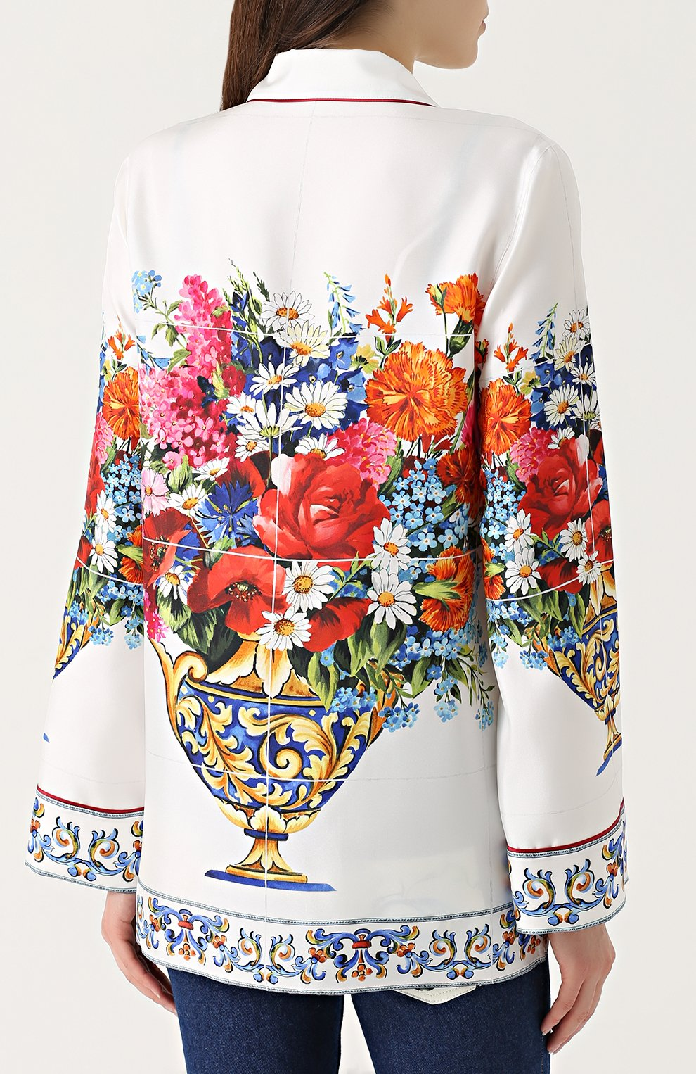 Шелковая блуза в пижамном стиле с принтом Dolce & Gabbana разноцветная | Фото №4