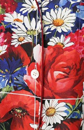 Шелковая блуза в пижамном стиле с принтом Dolce & Gabbana разноцветная | Фото №5