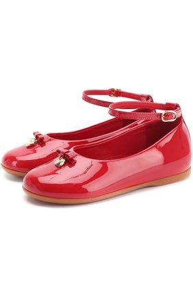 Лаковые туфли с бантом и ремешком на щиколотке | Фото №1