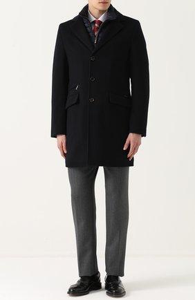 Шерстяное однобортное пальто с пуховой подстежкой Moorer серого цвета | Фото №1