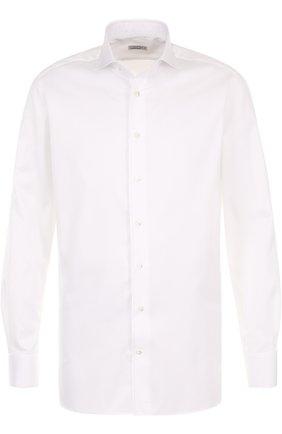 Мужская хлопковая сорочка с воротником акула ZILLI белого цвета, арт. 6010023003 | Фото 1