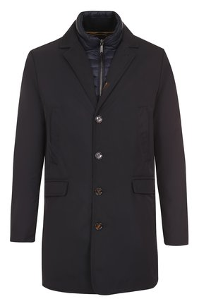 Однобортное пуховое пальто прямого кроя Moorer темно-синего цвета | Фото №1