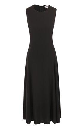 Приталенное платье-миди без рукавов DKNY черное | Фото №1