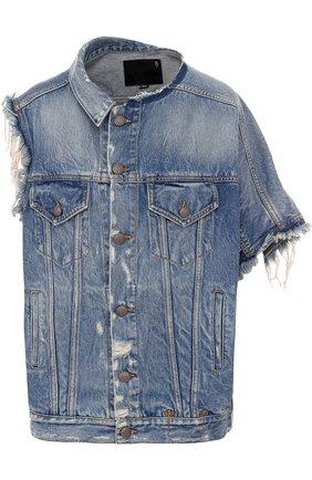Джинсовая куртка асимметричного кроя с потертостями | Фото №1