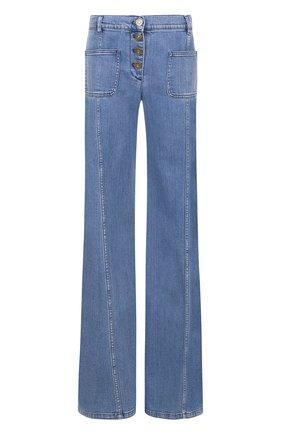 Расклешенные джинсы с потертостями