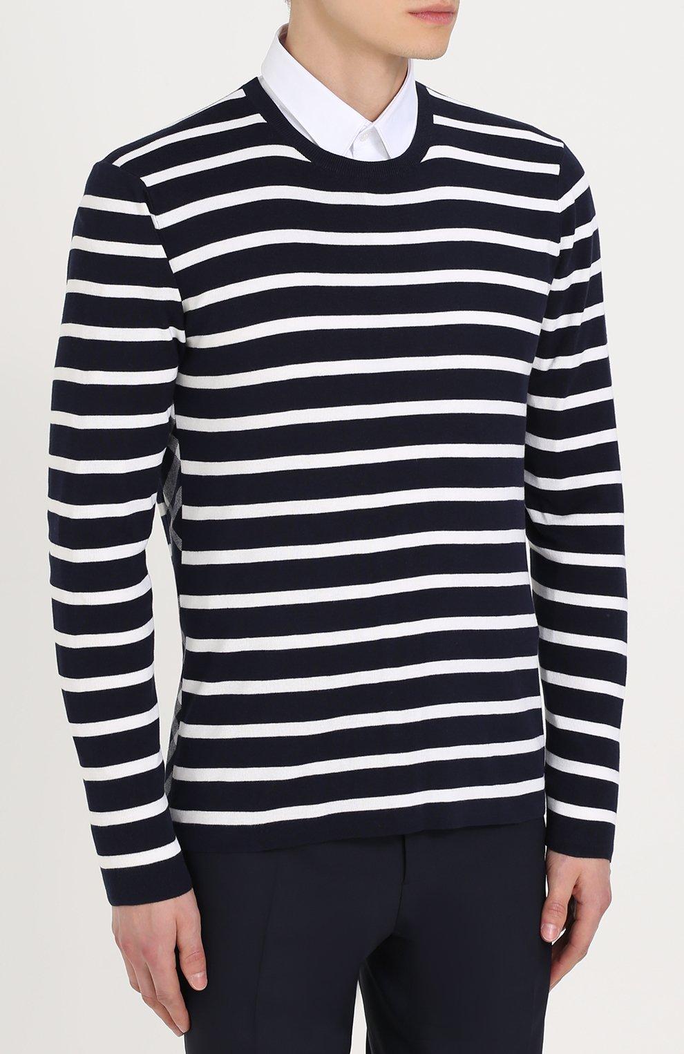 Джемпер из смеси шелка и хлопка в контрастную полоску | Фото №3