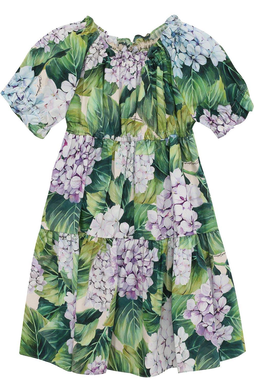 Хлопковый комплект из платья с цветочным принтом и трусов  | Фото №1