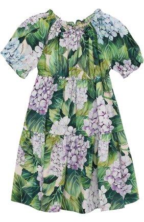 Хлопковый комплект из платья с цветочным принтом и трусов  Dolce & Gabbana зеленого цвета | Фото №1