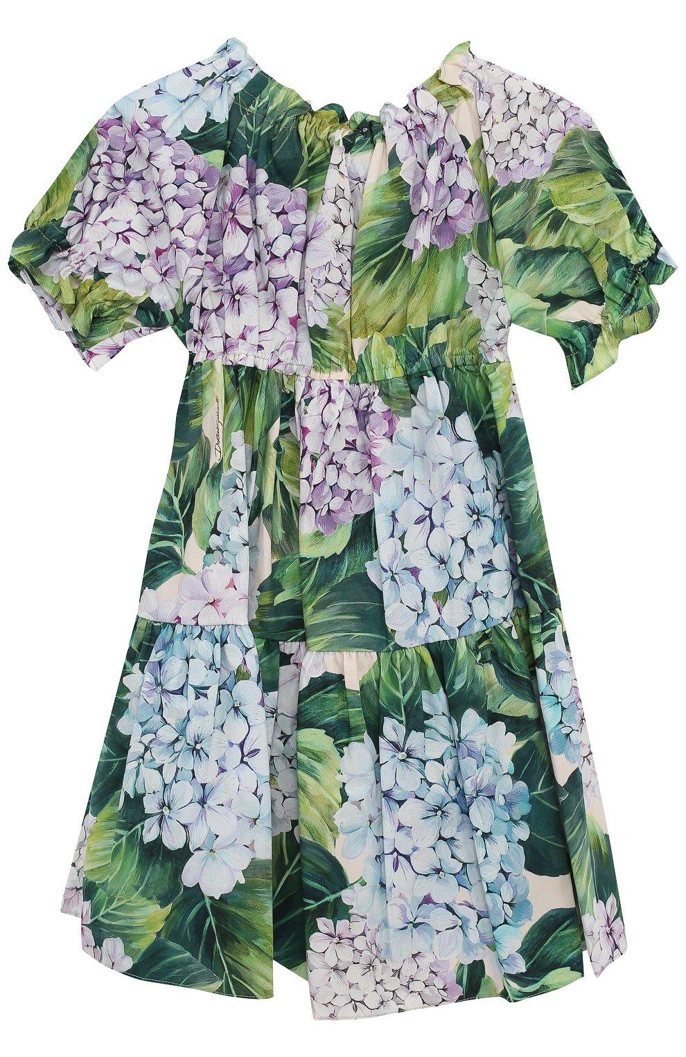 Хлопковый комплект из платья с цветочным принтом и трусов  Dolce & Gabbana зеленого цвета | Фото №2