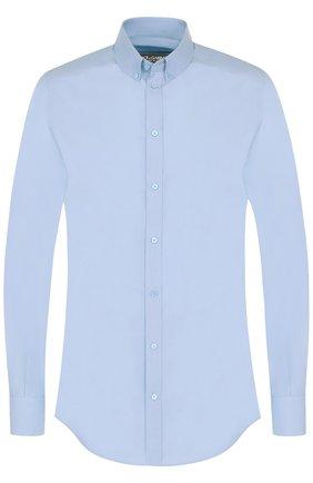 Хлопковая сорочка с воротником button down Dolce & Gabbana голубая | Фото №1