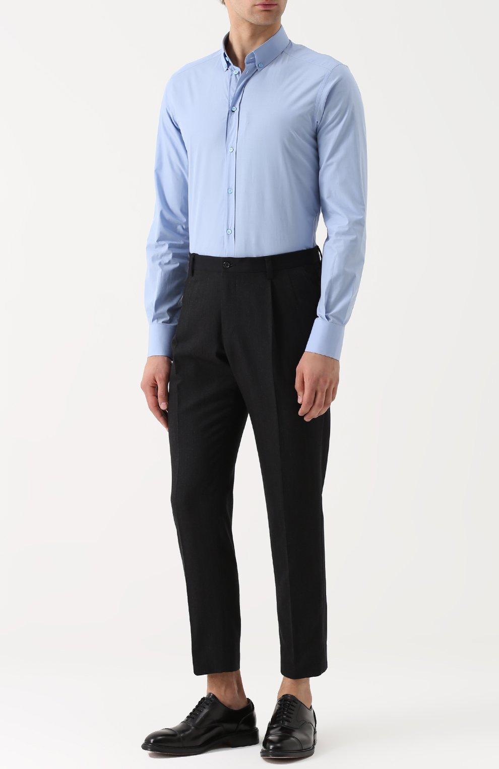 Хлопковая сорочка с воротником button down Dolce & Gabbana голубая | Фото №2