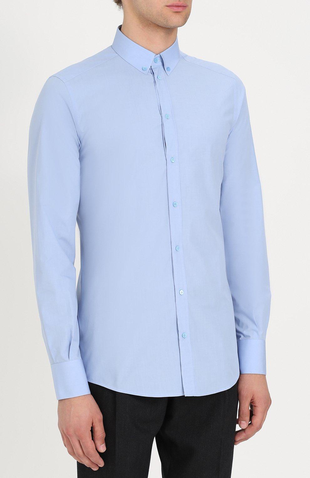 Хлопковая сорочка с воротником button down Dolce & Gabbana голубая | Фото №3