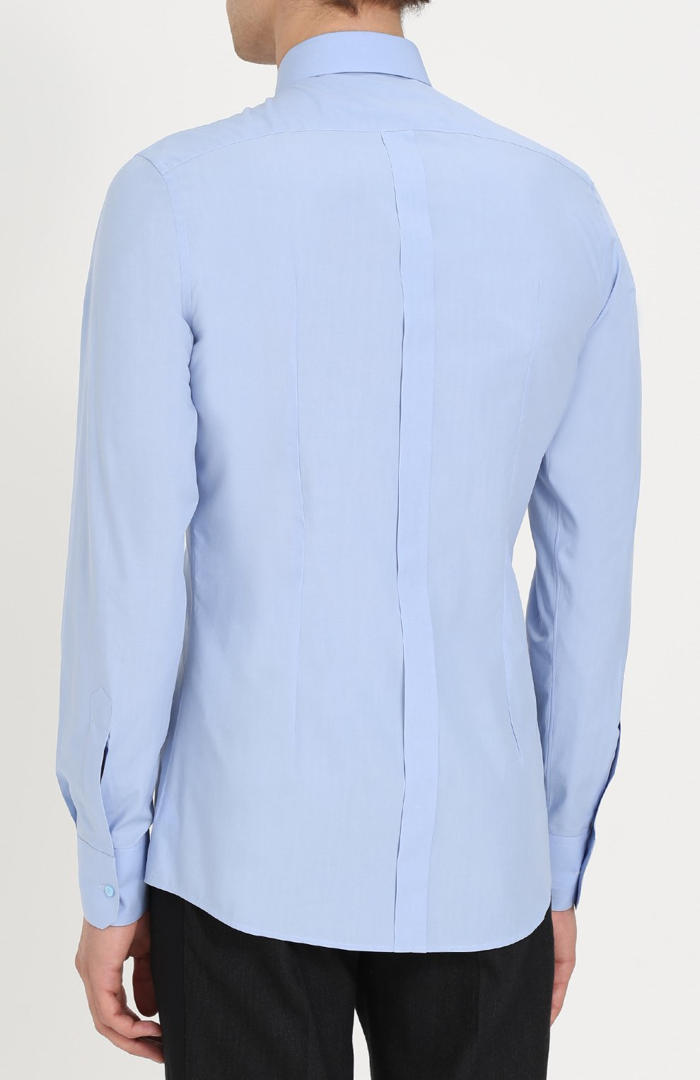 Хлопковая сорочка с воротником button down Dolce & Gabbana голубая | Фото №4