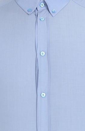 Хлопковая сорочка с воротником button down Dolce & Gabbana голубая | Фото №5