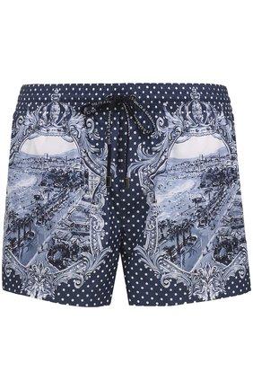 Плавки-шорты с принтом Dolce & Gabbana голубые | Фото №1