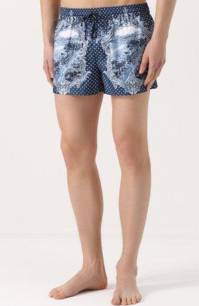 Плавки-шорты с принтом Dolce & Gabbana голубые | Фото №3