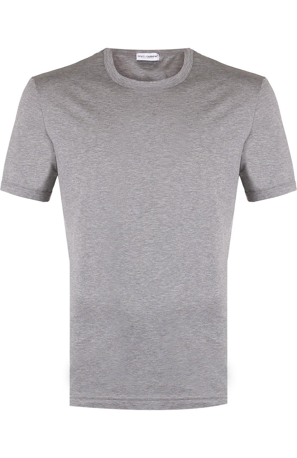 Хлопковая футболка с круглым вырезом   Фото №1