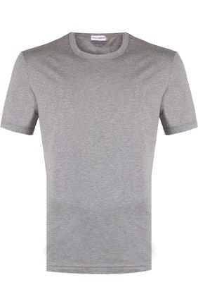 Хлопковая футболка с круглым вырезом Dolce & Gabbana серая   Фото №1