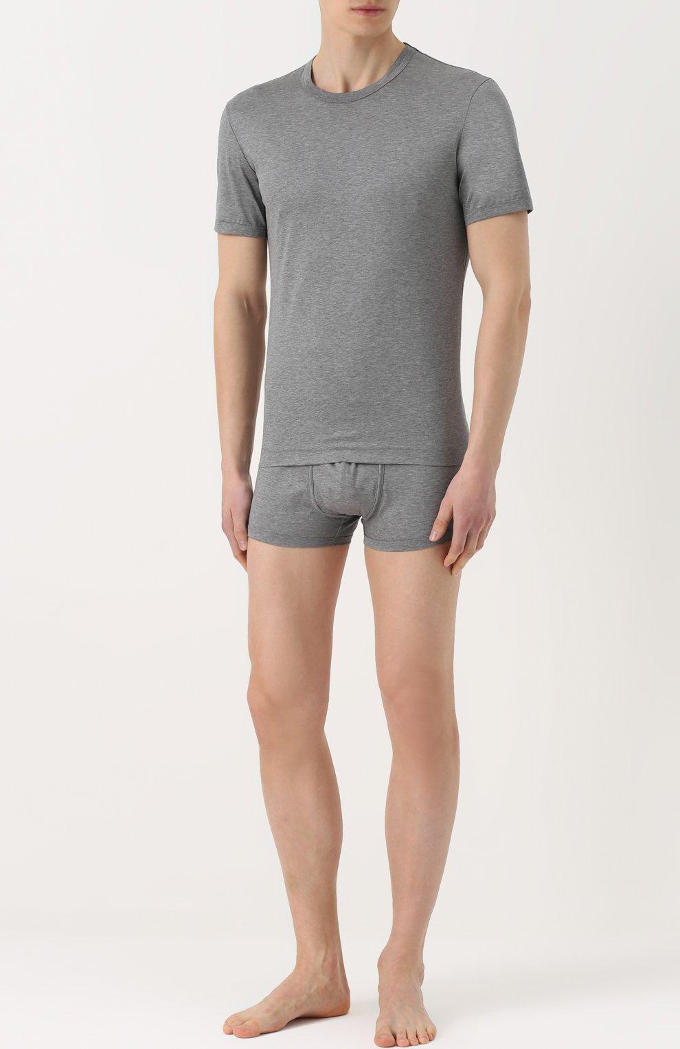Хлопковая футболка с круглым вырезом Dolce & Gabbana серая   Фото №2