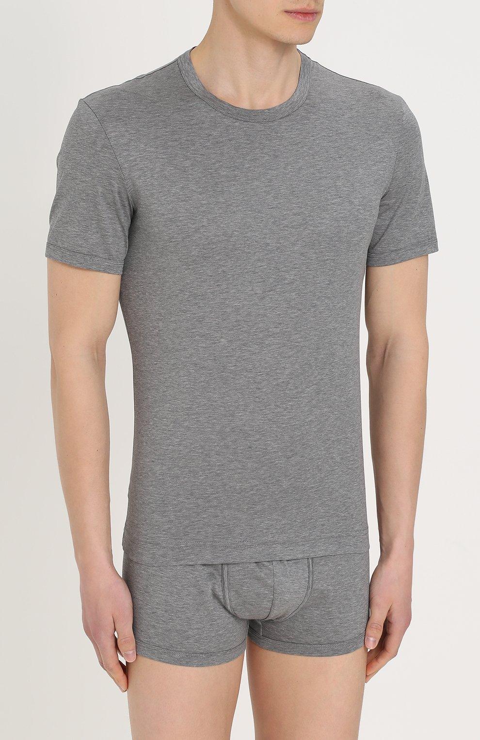 Хлопковая футболка с круглым вырезом Dolce & Gabbana серая   Фото №3