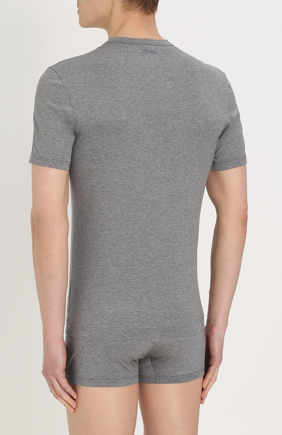 Хлопковая футболка с круглым вырезом Dolce & Gabbana серая   Фото №4