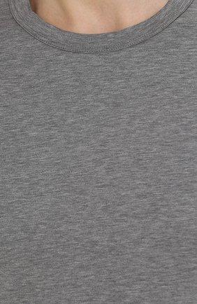 Хлопковая футболка с круглым вырезом Dolce & Gabbana серая   Фото №5