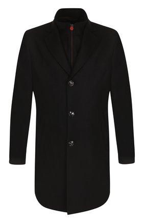 Однобортное кашемировое пальто с кожаной отделкой | Фото №1