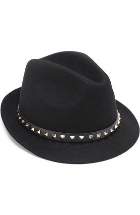 Шляпа из ангоры Valentino Garavani с кожаным ремешком и заклепками | Фото №1